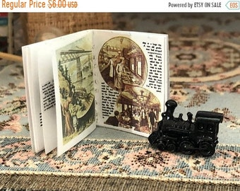 SALE Miniature Book, Railroad Story Book, Antique Repo Readable Mini Book, Dollhouse Miniature, 1:12 Scale, Mini Book With Color Photos and