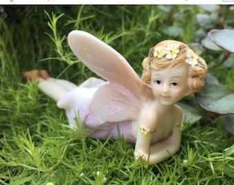 SALE Fairy Figurine, Flower Fairy #4490, Laying Down Fairy, Fairy and Miniature Garden Decor, Shelf Sitter, Topper