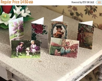 SALE Miniature Cards, Birthday Card Set, 6 Pieces, Dollhouse Miniature, 1:12 Scale, Dollhouse Accessory, Decor, Crafts, Embellishments