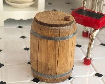 SALE Beautiful Miniature Hand Crafted Wood Cracker Barrel, Dollhouse Miniature, 1:12 Scale, Dollhouse Decor, Crafts, Mini Barrel with Top