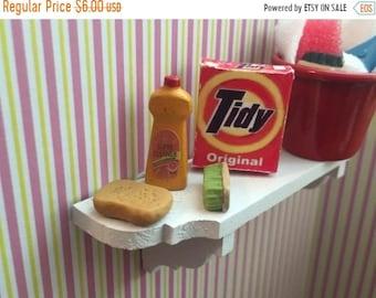 SALE Miniature Laundry Detergent and Cleaning Supplies, Dollhouse Miniatures. 1:12 Scale,  4 Pc Set, Detergent Box, Sponge, Soap, Brush, Cle