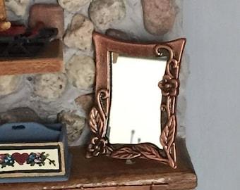SALE Miniature Copper Wall Mirror, Antique Look Copper, Dollhouse Miniature, 1:12 Scale, Mini Mirror, Dollhouse Accessory, Decor Item