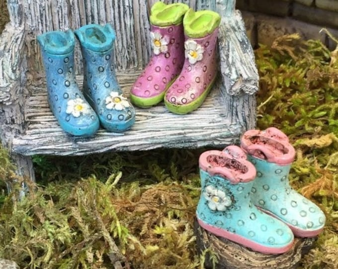 SALE Miniature Rain Boots, Wellies, Blue With Pink Sole, Fairy Garden Accessory, Home and Garden Decor, Dolls and Dollhouses