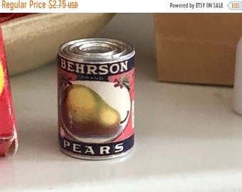 SALE Miniature Pears Can, Dollhouse Miniature, 1:12 Scale, Dollhouse Food, Mini Food Can, Dollhouse Accessory, Dollhouse Kitchen Decor