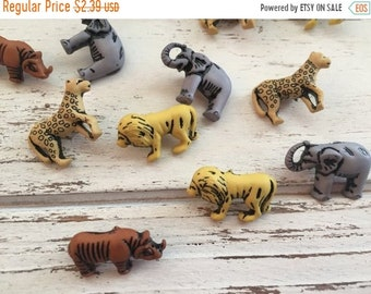 """SALE Animal Buttons, Packaged Novelty Button Assortment, """"Safari Animals"""" by Buttons Galore Style 4269, Lion, Leopard, Rhino, Elephant Butto"""