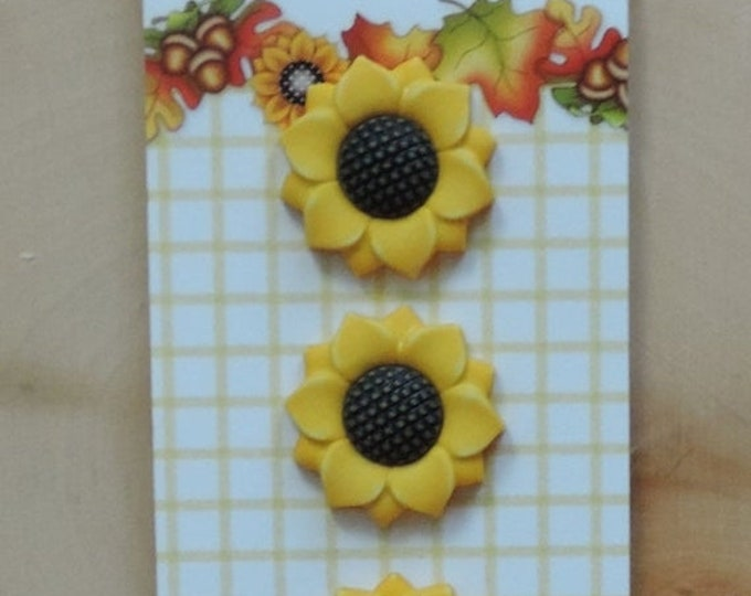 "SALE Sunflower Buttons, Fall Friends Collection ""Sunflower"" Style FA122, by Buttons Galore, Carded Set of 3, Shank Back Buttons, Embellishme"