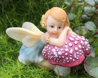 SALE Fairy Figurine, Flower Fairy #4491, Resting on Mushroom, Fairy and Miniature Garden Decor, Shelf Sitter, Topper