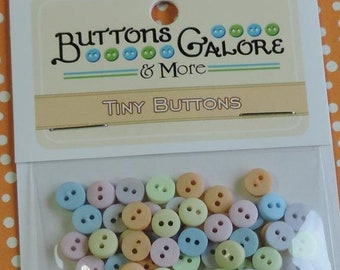 SALE Pastel Tiny Buttons, Packaged Assortment, 2 Hole Buttons by Buttons Galore, Style #1348, Sewing, Crafting Round Buttons