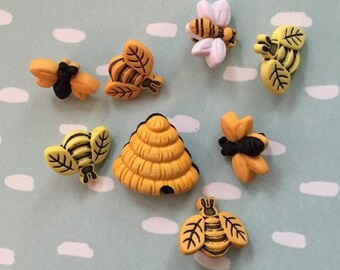 "SALE Bee Buttons, Packaged Novelty Button Assortment, ""Buzzin Around"" Style 4253 by Buttons Galore, Package Includes Bees and Hives"