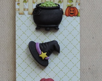 Bewitching Buttons, Happy Halloween Collection by Buttons Galore, Includes Witch Hat, Brew and Taffy Apple, Carded Set of 3 Buttons