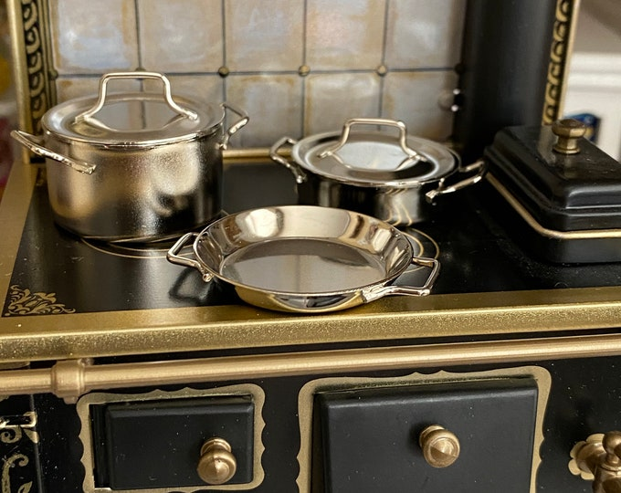 Miniature Pots and Pan Set, Mini Cookware 5 Piece Set, Style #08, Dollhouse Miniature, 1:12 Scale, Dollhouse Accessory, Kitchen Decor