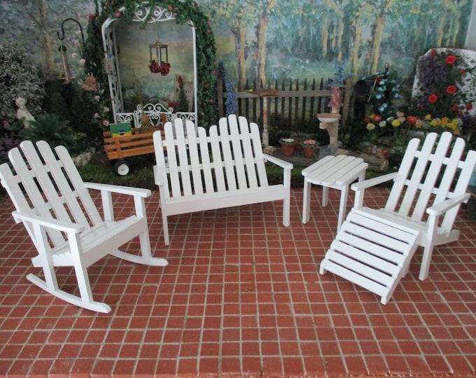 Miniature Adirondack Furniture Set, White Wood 5 Piece Garden Furniture Set, Style #36, Dollhouse Miniature, 1:12 Scale, Mini Adirondack