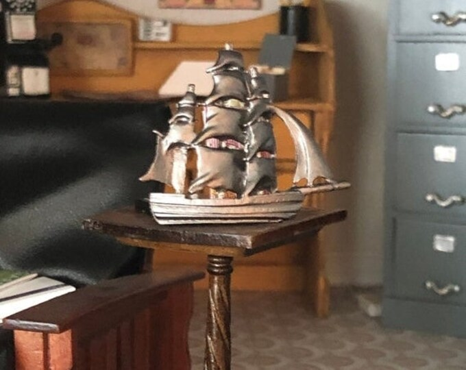 SALE Miniature Ship, Mini Ship Figurine Statue Knick Knack, Dollhouse Miniature, 1:12 Scale, Dollhouse Decor Accessory