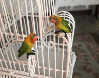 SALE Miniature Love Birds, Green and Yellow Birds, Set of 2, Dollhouse Miniatures, 1:12 Scale, Mini Birds, Lovebirds, Miniature Animal Figur