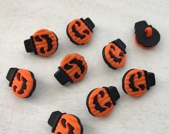 SALE Halloween Buttons, Little Jack O Lantern Pumpkin Buttons by Buttons Galore, Shank Back Pumpkin Buttons, Style 4540, Halloween Themed Bu