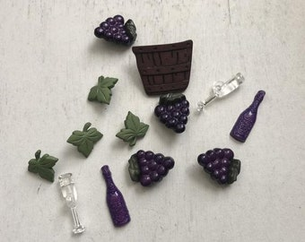 """SALE Wine Themed Buttons, Packaged Novelty Buttons, """"Wine Lover"""" Style 4089 by Buttons Galore, Grapes, Wine, Bottle, Glasses & Leaves"""