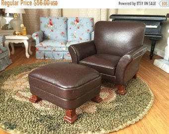 SALE Miniature Chair and Ottoman, Brown Leather Chair and Ottoman, Dollhouse Miniature Furniture, 1:12 Scale, Mini Leather Chair, Wood Legs