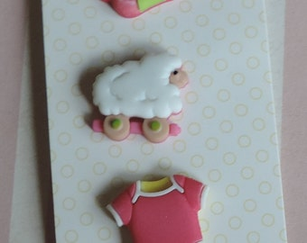 Baby Girl Buttons, Carded Set of 3 Novelty Buttons by Buttons Galore, Baby Hugs Collection, Style BH127, Socks Onesie and Lamb