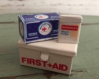 SALE Miniature First Aid Kit, Bandaids, Cotton, Metal First Aid Box, Dollhouse Miniatures, 1:12 Scale, Dollhouse Accessory, Decor, Crafts