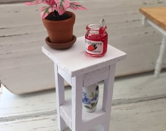 SALE Miniature White Side Table, Plant Stand, Table with Shelf, Dollhouse Miniature Furniture, 1:12 Scale, Dollhouse White Table