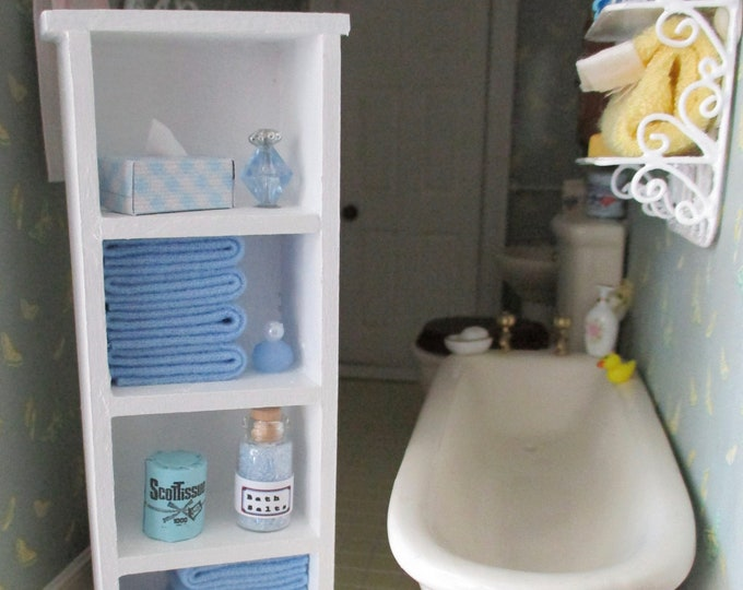 Miniature Bathroom Cabinet, Filled White Cabinet With Blue Bath Accessories, Dollhouse Miniature, 1:12 Scale, Dollhouse Bath Furniture