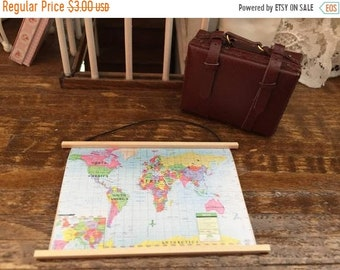 SALE Miniature Map, Wall Banner Map, Dollhouse Miniature, 1:12 Scale, Dollhouse Decor, Accessory, Mini World Map