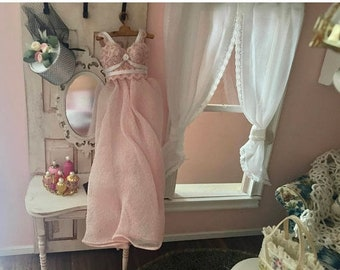 SALE Miniature Nightgown, Long Pink Night Gown, Dollhouse Miniature, 1:12 Scale, Dollhouse Accessory, Decor, Mini Clothes, Pink Gown