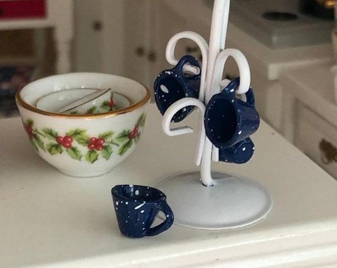 SALE Miniature Mug Holder with Enamel Look Blue Cups, Mini Mugs and Rack, Dollhouse Miniature, 1:12 Scale, Dollhouse Accessory, Kitchen Deco