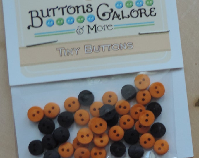 Tiny Black and Orange Buttons, 2 Hole, Round Buttons, Style 1574 by Buttons Galore, Sewing, Crafting Buttons Embellishemtns