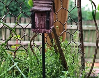 SALE Mini Birdhouse Pick, Rustic, Wood Look Birdhouse,  Fairy Garden Accessory, Miniature Garden Decor, Metal Pick, Resin Birdhouse