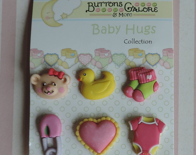 Baby Girl Buttons Carded Set of 6 by Buttons Galore Baby Hugs Collection Style BH100 Socks Duck Diaper Pin Onesie Heart and Teddy Bear