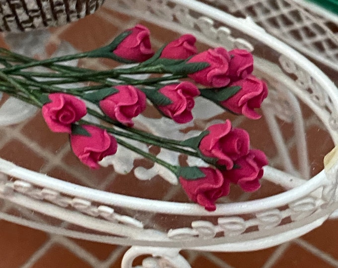 Miniature Flowers, Mini Pink Roses With Wire Stems, 12 Pc Set, Style #05-4, Dollhouse Miniature, 1:12 Scale, Mini Flowers
