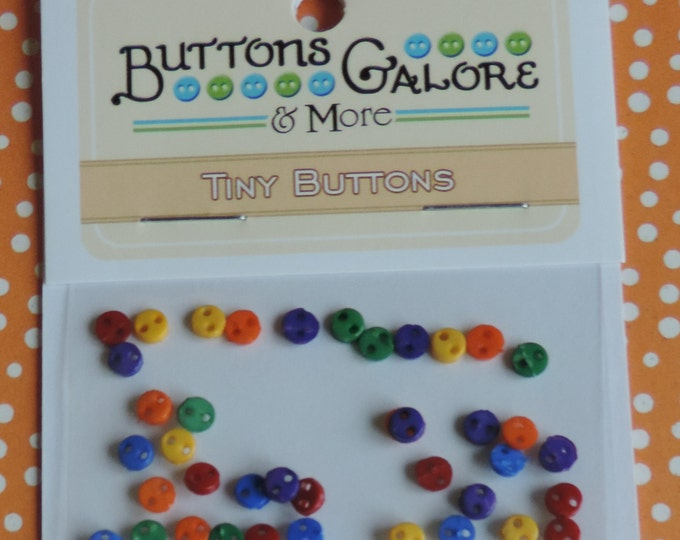 Micro Buttons, Primary Colors, 2 Hole, Tiny 4mm Packaged Buttons by Buttons Galore, Style #1805, 2 Hole, Sewing, Crafting, Embellishments