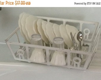 SALE Miniature White Filled Dish Drainer, Mini Dish Rack, Dollhouse Miniature, 1:12 Scale, Dollhouse Kitchen, Accessory, Dish Rack With Dish