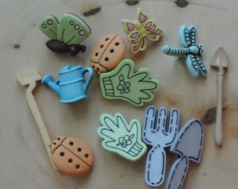 """SALE Gardening Buttons, Packaged Novelty Button by Buttons Galore """"Spring Garden"""" Style 4452, Includes Watering Can Garden Tools & More"""