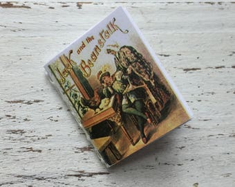 "Miniature Book, ""Jack and the Beanstalk"", Readable Book with Illustrations, Dollhouse Miniature, 1:12 Scale, Mini Book with Text"