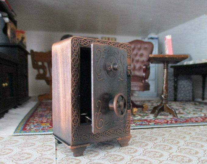 Miniature Safe, Bronze Finish Vintage Look Mini Safe, Dollhouse Miniature, Mini Safe Pencil Sharpener, Dollhouse Decor