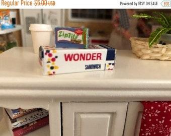 SALE Miniature Bread and Sandwich Bag Box, 2 Piece Set, Dollhouse Miniatures, 1:12 Scale, Dollhouse Accessories, Decor, Crafts