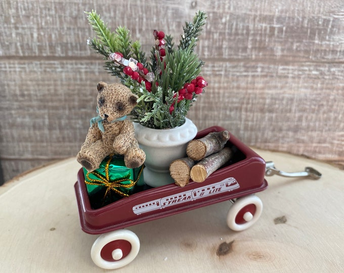 Mini Flyer Wagon Decorated for Christmas with Teddy Bear and Greenery, Red Replica Flyer Wagon, Holiday Decor, Shelf Sitter, Gift