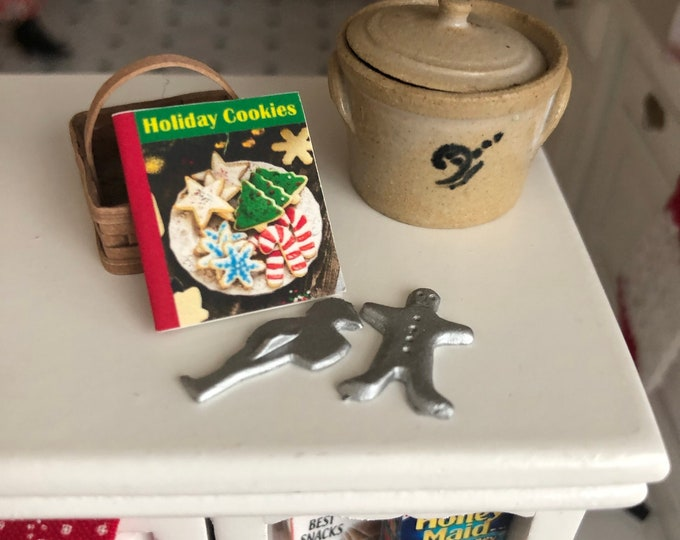 Miniature Holiday Cookies Book and Cookie Cutter Set, 3 Piece Set, Dollhouse Miniatures 1:12 Scale, Dollhouse Accessory, Holiday Decor