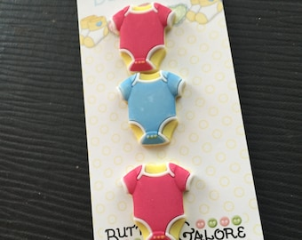 Baby Buttons Onesie Shirt Buttons by Buttons Galore Carded Set of 3 Baby Hugs Collection