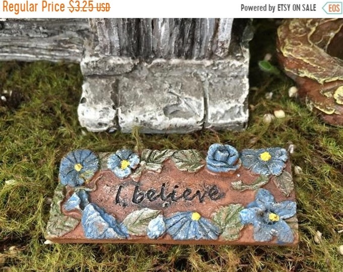 "SALE Mini Door Mat, ""I Believe"" Fairy Door Mat With Blue Flowers, Fairy Garden Accessory, Miniature Garden Decoration, Resin Mat"