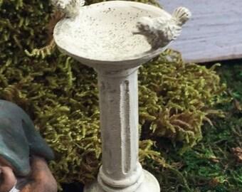 SALE Miniature Bird Bath With Birds, Fairy Garden Accessory, Garden Decor, Miniature Gardening, Birdbath