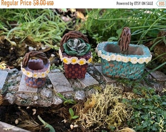 "SALE Mini Baskets, Resin Baskets, Set of 3 ""Daisy"" Baskets, Twig Look Handles,  Fairy Garden Accessory, Miniature Home & Garden Decor"