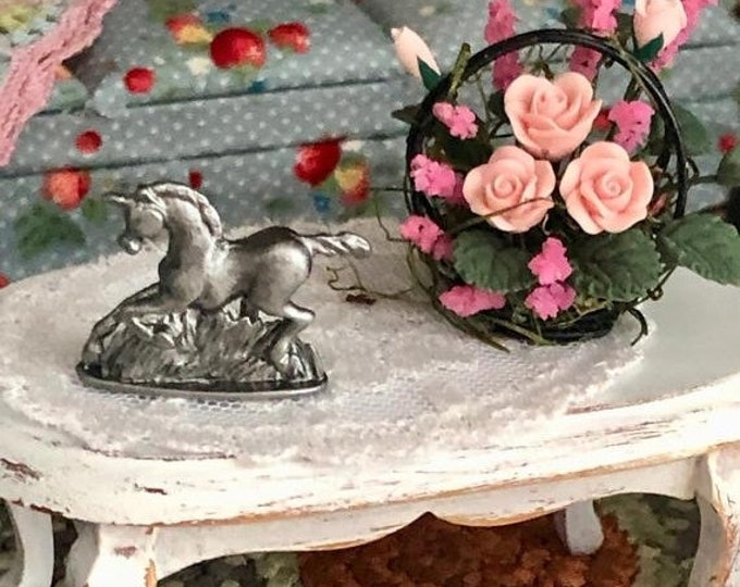 SALE Miniature Unicorn Statue, Mini Unicorn Figurine, Dollhouse Miniature, 1:12 Scale, Dollhouse Decor Accessory