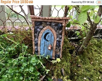 SALE Mini Outhouse, Shingletown Resin Outhouse with Cut Out Moon Door, Fairy Garden Accessory, Miniature Garden Decor, Topper