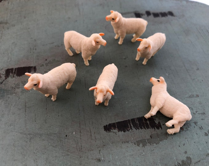 Miniature Lambs, Set of 6 Standing Plastic Lambs, Great for Crafts, Toppers, Embellishments