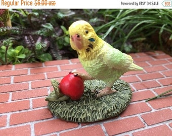 SALE Mini Bird Figurine, Budgie Parakeet Figurine, Clearance Priced, Home & Garden Decor, Miniature Gardening, Shelf Sitter, Topper, Gift, C