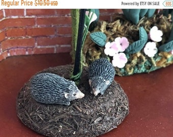 SALE Miniature Hedgehog Figurines, Set of 2, Mini Hedge Hogs, Dollhouse Miniatures, 1:12 Scale, Dollhouse Decor, Topper, Shelf Sitter