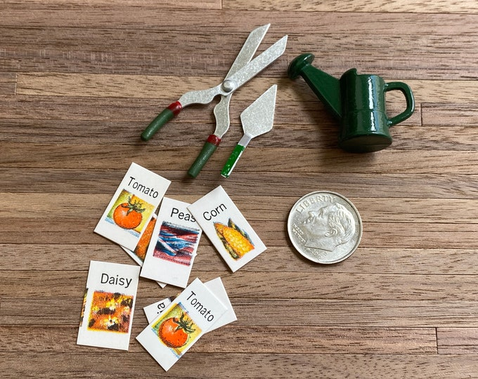 Miniature Garden Set, Watering Can, Trowel, Shears and Seed Cards, Dollhouse Miniature 1:12 Scale, Mini Garden Accessories, Decor